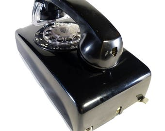 Black Rotary Dial Vintage Western Electric Wall Mounted Telephone