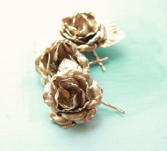 Gold flower clips set, Golden rose clips, Bridal hair pins, Rose bobby pins, Golden rose bobby pin clips, Bridal hair flowers gold