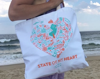 State of My Heart New Jersey Shore Beach Tote