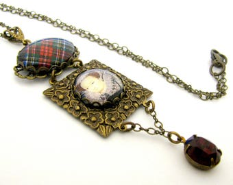 Scottish Tartans Jewelry - History's Queens Collection - Mary Queen of Scots Square Repousse Filigree Necklace w/Siam Red Czech Glass Gem