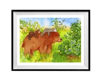 Big Brown Mama Bear with Cubs Nature painting Watercolor bear print Brown Bear Bear illustration Kids room painting Bear wall art LaBerge