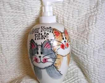 Smiling Cat Duo Soap Dispenser Wash Your Paws Handmade Ceramic by Grace M Smith