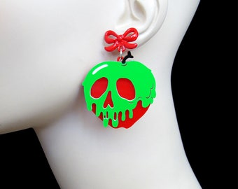 READY MADE SALE - Poison Apple Earrings - with Red Bow Earring Posts - Snow White -  Acrylic Laser Cut Necklace