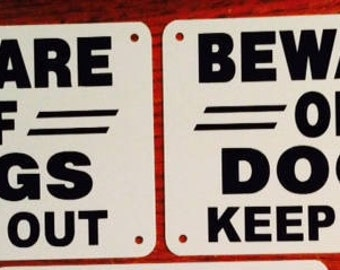 """2 beware of dogs Keep Out signs  14"""" x  10"""" heavy non rust aluminum signs black  lettering predrilled holes"""