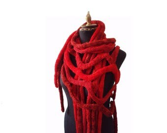 Chunky Knit Scarf - Red Scarf - Cobweb Shawl - Hand Knit Capelet - Long Scarf - Hand Knit Scarf - Unisex Scarf - Knitted Poncho - Neck Warm