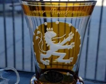 1938 STEINSCHÖNAU Bohemian Beaker Vase, Exquisite craftsmanship, Lion Crest, Glass Art, Jan. 10th, 1938 Etched on rim, Art Deco, Bohemia