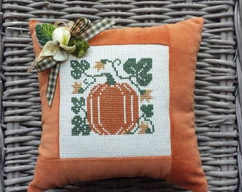 Pumpkin Jack O'Lantern Pillow Vintage Style Handmade Orange Velvet Cross Stitch Primitive Rustic FolkArt Harvest Autumn Halloween Decoration