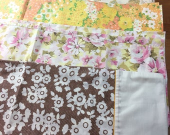 Lot of 4 vintage pillow cases - great for aprons, crafts, etc. floral, cotton