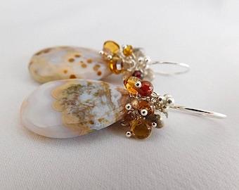 Stone Earrings - Statement Jewelry - Dangle Earrings - Boho Earrings - Agate E