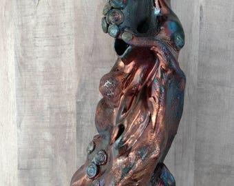 September Monsoon. Tall Raku pottery sculpture. Rainbow copper, pierced organic, liquid, fine art tall sculpture. Flowing raku sculpture.