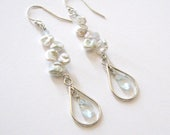 Aquamarine Gemstones in Sterling Silver Teardrops, White Keshi Pearl Dangling Earrings, Ear Wire Options