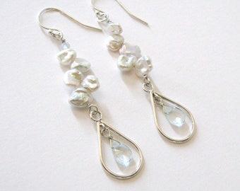 Aquamarine Gemstones in Sterling Silver Teardrops, White Keshi Pearl Dangling Earrings