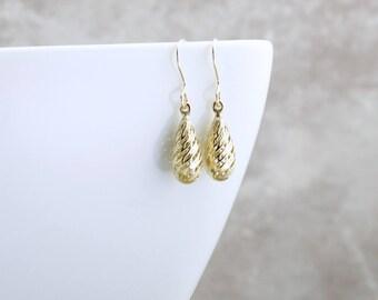 14k Teardrop Earrings Gold Swirl Earrings Dainty Solid Gold Earrings Modern 14k Gold Earrings 14k Solid Gold Jewelry Minimalist Gift For Her