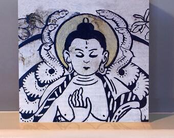Buddha Blue Wooden Wall Art.  Meditation gift.  Altar.  Buddha art statue.  Buddha gifts.