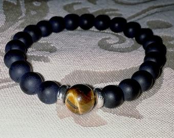 Buddha Matte Black Onyx With Tiger Eye Man Bracelet (Mala)