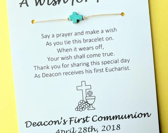 A Wish for Faith - First Communion Cross Bead Wish Bracelet Party Favor Custom Made for You