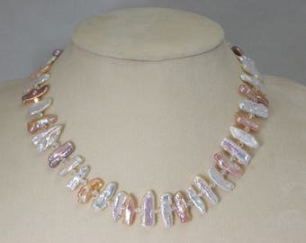 Pearl Necklace 18 inch white, pink, and peach biwa freshwater pearls & swarovski 4mm crystals, bridal necklace, christmas, gifts for mom