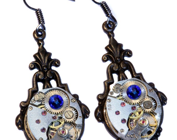 Steampunk Earrings - Capri Blue