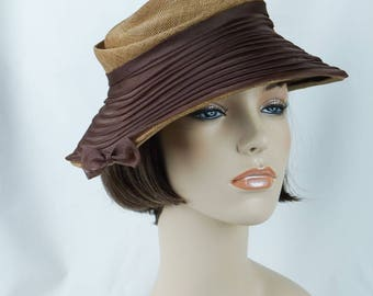 1950s Vintage Hat Natural Straw with Brown Chiffon Asymmetrical Brimmed Bucket by Chante Original Tag Sz 22