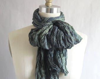 Green Silk Scarf Hand Dyed Long Unisex Fiber Art OOAK from Textured Silks Collection - Moss