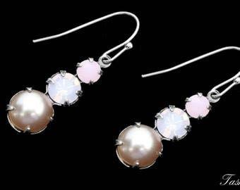 Swarovski Pearl Drop Earrings, Vintage Crystal Rhinestone Jewelry, Gift for Her