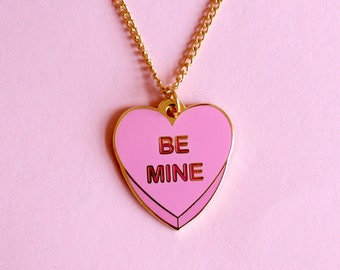 Be Mine Candy Heart Conversation Heart Valentine's Day Pink Enamel Charm Necklace, Gold Chain, Kawaii, Kitsch