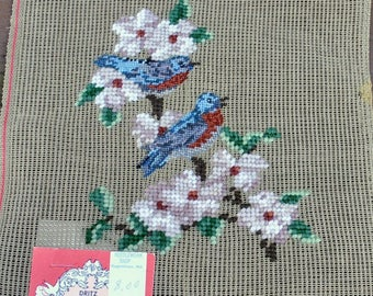 """Vintage Floral Dritz Luxury Preworked Needlepoint Canvas  Small - 9"""" X 12"""" - Petitpoint Bluebirds and Dogwood Blossoms"""