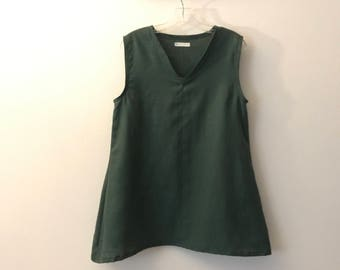 size M emerald linen top ready to wear
