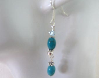 Turquoise Earrings, Beaded Earrings, Dangle Earrings, Magnesite Turquoise,  Surgical Steel EarWires, Jewelry Accessory, Made USA, Item 1273