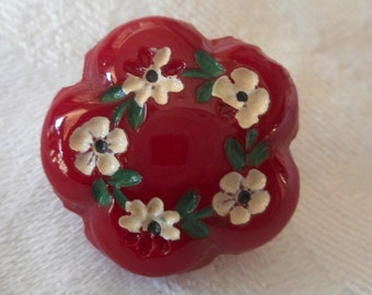 VINTAGE Scallop Red Glass Painted Flower BUTTON