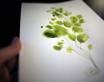 Plant painting 8x12in, A4 on PAPER