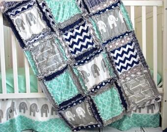 Elephant Crib Set- Navy/ Gray/ Mint Crib Bedding Boy - Baby Bedding Sets- Jungle Nursery- Safari Crib Set- Rag Quilt, Sheet, Skirt, Bumpers