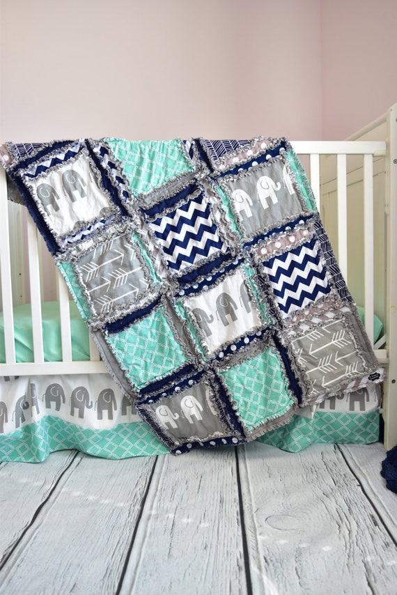 Baby Boy Cribs: Elephant Crib Set Navy/ Gray/ Mint Crib Bedding Boy Baby