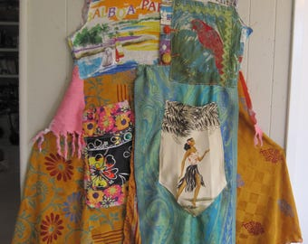 My Bonny  balboa beach bright boho DRESS Flamboyant Festival Folk Frock -Many Colours Wearable Art Clothing - Altered Fabric & Linens