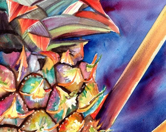 Pineapple Painting,  Original Watercolor, Tropical Fruit Paintings, Pineapple Art, Kauai Fine Art, Hawaiian Pineapples, Maui Oahu, Hawaii