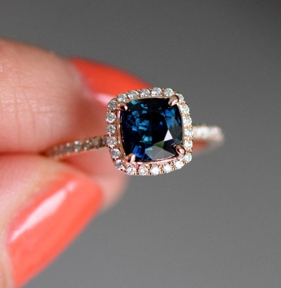 Peacock sapphire engagement ring. 1.42ct square cushion cut blue green sapphire ring diamond ring 14k Rose gold ring by Eidelprecious