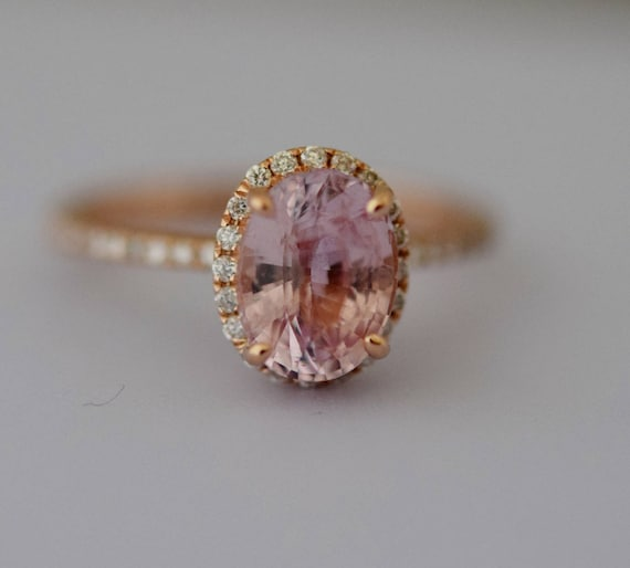 Peach Sapphire Engagement Ring 14k Rose Gold Diamond Engagement Ring 2.01ct Oval engagement ring Engagement ring by Eidelprecious