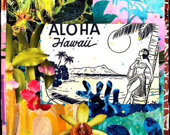 NEW GLASSED, Aloha Hawaii Floral Wave, 4x4 and Up, re-collaged, hand-painted and glassed on wood panel, orchids, tropical, custom made, Oahu