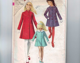 1960s Vintage Childs Sewing Pattern Simplicity 7887 Girls Princess Seam Winter Coat Size 10 Breast 28 60s 1968