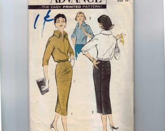 1950s Vintage Sewing Pattern Advance 8244 Misses Overblouse and Back Wrap Skirt Slim Military Size 10 Bust 31 50s