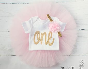 Pink and Gold First Birthday Outfit Girl, Cake Smash Outfit Girl, 1st Birthday Outfit, First Birthday Tutu Skirt Set, SEWN Tulle Skirt