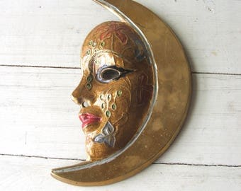 Vintage Moon Face Mask Brass Wall Hanging Ornament