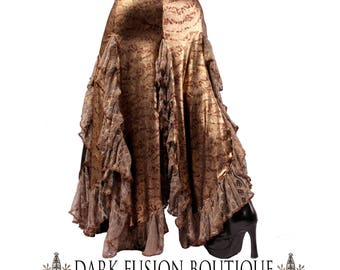 Gold Petal Skirt, YOUR SIZE, Ruffles, Tribal Fusion Bellydance, Costume, Dark Fusion Boutique