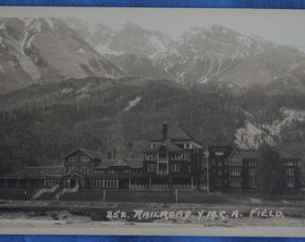 Railroad YMCA Field BC British Columbia Canada Standard B&W RPPC Postcard