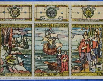 Plymouth Mass Landing Pilgrims Stained Glass Windows Pilgrim Hall Antique Postcard