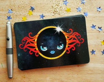Solar Eclipse Postcard, Astronomy, Moon Face, Snail Mail, Postcrossing