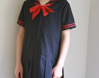 Vintage girls sailor dress navy and red uniform dress size 8 10
