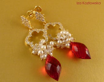 Happy Valentine - gold-plated earrings with dyed quartz, cubic zirconia and freshwater pearl