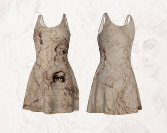 Short Flare Dress Printed with Real Artist Figure and Portrait Drawings Renaissance Style