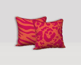 Chunky Bold Animal Print Pattern Throw Pillow Cover in Hot Pink and Deep Orange, Zebra or Leopard Print Pattern Decor